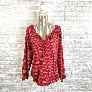 Relativity Red Patterned Ruffled Top